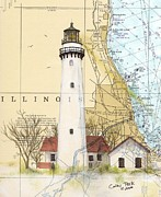 Illinois Painting Framed Prints - Grosse Pt Lighthouse IL Nautical Chart Map Art Cathy Peek Framed Print by Cathy Peek