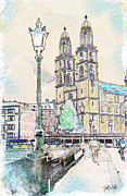 Riverbank Mixed Media Posters - Grossmunster Cathedral Poster by Sid Webb