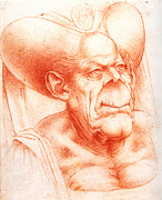 Caricature Artist Drawings Posters - Grotesque Head Chalk Drawing Poster by Leonardo da Vinci