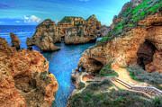 Grottos At Ponta Piedade Print by Nigel Hamer