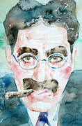 Mustache Painting Framed Prints - GROUCHO MARX watercolor portrait.1 Framed Print by Fabrizio Cassetta