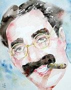 Mustache Painting Framed Prints - GROUCHO MARX watercolor portrait.2 Framed Print by Fabrizio Cassetta