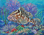 Nassau Grouper Framed Prints - Groucho the Grouper Framed Print by Li Newton