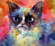 Humour Drawings Prints - Grouchy Grumpy Cat portrait painting Print by Svetlana Novikova