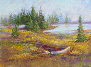 Canoe Pastels Prints - Grounded Print by Christine Bass
