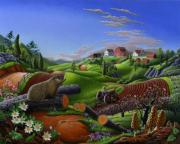 Groundhog Painting Posters - Groundhog Day Springtime Country Farm Folk Art Americana Landscape Poster by Walt Curlee