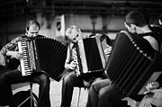 Town Square Prints - Group Of Accordion Players Perform In The Street In Rynek Glowny Town Square Krakow Print by Joe Fox