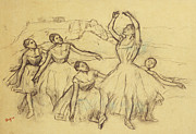 Ballet Dancers Drawings Framed Prints - Group of Dancers Framed Print by Edgar Degas