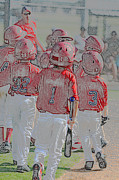 Baseball Uniform Prints - Group of little league baseball players Print by Tammy Abrego