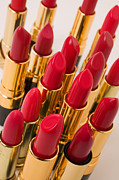 Cosmetics Prints - Group of red lipsticks Print by Garry Gay