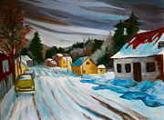 Laurentians Paintings - Group of Seven Snowy Laurentian Homestead  by Sherrill McCall
