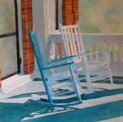 Rocking Chairs Framed Prints - Growing Old Together Framed Print by Terry Holliday