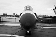 Manhaten Prints - Grumman F11F Tiger on display on the flight deck at the Intrepid Sea Air Space Museum f11 Print by Joe Fox