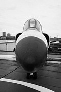 Manhatten Framed Prints - Grumman F11F Tiger on display on the flight deck at the Intrepid Sea Air Space Museum new york Framed Print by Joe Fox