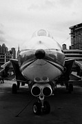 Manhaten Prints - Grumman F14 Tomcat on the flight deck of the USS Intrepid at the Intrepid Sea Air Space Museum usa Print by Joe Fox