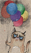 Balloon Drawings - Grumpy Cat And Balloons by Angel  Tarantella