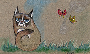 Insects Drawings Framed Prints - Grumpy Cat And Butterflies Framed Print by Angel  Tarantella