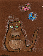 Insects Drawings Framed Prints - Grumpy Cat Framed Print by Angel  Tarantella