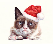 Watercolor Mixed Media Framed Prints - Grumpy Cat as Santa Framed Print by Olga Shvartsur