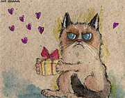 Gift Drawings Posters - Grumpy Cat in love Poster by Angel  Tarantella