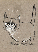 Kitty Drawings Posters - Grumpy Cat Is Grumpy Today Poster by Angel  Tarantella
