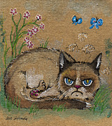 Insects Drawings Framed Prints - Grumpy cat loves spring Framed Print by Angel  Tarantella