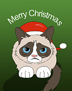 Christmas Card Framed Prints - Grumpy Cat Framed Print by Mark Ashkenazi