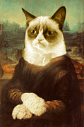 Fun Mixed Media Originals - Grumpy Cat Mona Lisa by Tony Rubino