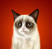 Funny Digital Art Metal Prints - Grumpy Cat Metal Print by Olga Shvartsur