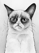 Funny Mixed Media Metal Prints - Grumpy Cat Portrait Metal Print by Olga Shvartsur
