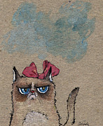 Ribbon Drawings Prints - Grumpy Cat With Red Ribbon Print by Angel  Tarantella