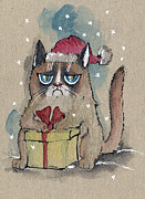 Santa Claus Drawings Posters - Grumpy  Christmas Cat Poster by Angel  Tarantella