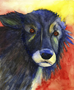 One Animal Painting Posters - Grumpy Old Dog Poster by Kerrie  Hubbard