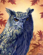 Leaves Painting Originals - Grumpy Owl by Alan  Hawley