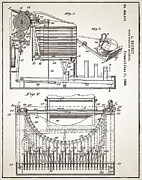 Typewriter Digital Art - Grundy Typewriter Patent 1889 by Digital Reproductions