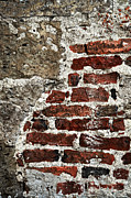 Cracked Stone Prints - Grunge brick wall Print by Elena Elisseeva