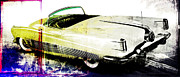 Large Digital Art Metal Prints - Grunge Retro Car Metal Print by David Ridley