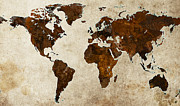 World Map Digital Art Metal Prints - Grunge World Map Metal Print by Gary Grayson