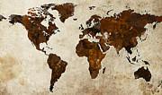 Grunge World Map Print by Gary Grayson