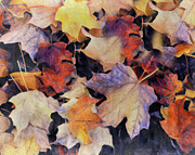 Decorating Mixed Media Metal Prints - Grungy Autumn Leaves Metal Print by Zeana Romanovna