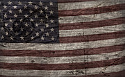 Flag Of Usa Prints - Grungy Wooden Textured U.S.A. Flag Print by John Stephens