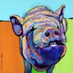 Animal Portrait Greeting Cards Prints - Grunt    Print by Pat Saunders-White