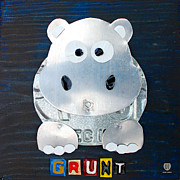 Animal Mixed Media Metal Prints - Grunt the Hippo License Plate Art Metal Print by Design Turnpike