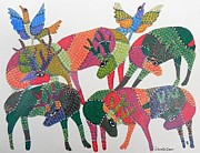 Gond Paintings - Gst 01 by Gareeba Singh Tekam