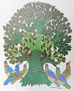 Gond Paintings - Gst 03 by Gareeba Singh Tekam