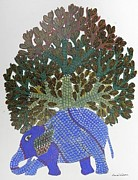 Gond Paintings - Gst 04 by Gareeba Singh Tekam