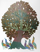 Gond Paintings - Gst 06 by Gareeba Singh Tekam