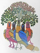Gond Paintings - Gst 18 by Gareeba Singh Tekam