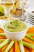Sticks Posters - Guacamole with Carrot and Celery Sticks Poster by Colin and Linda McKie