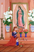 Child Praying Paintings - Guadalupe by Evangelina Portillo